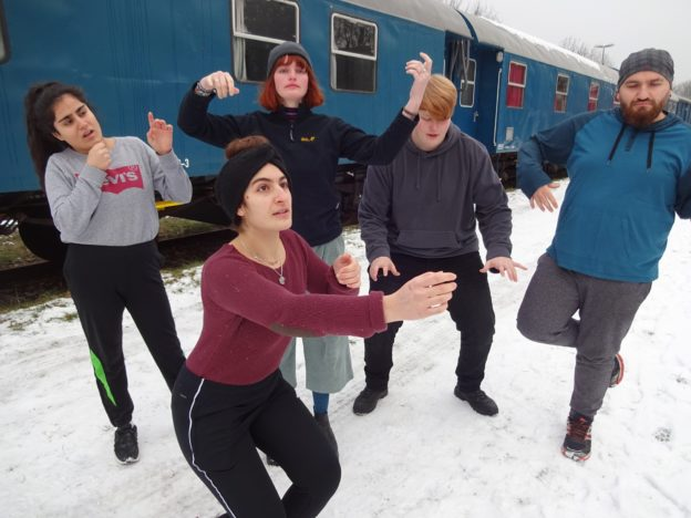 Young people strike poses in the snow, in front of a blue train carriage