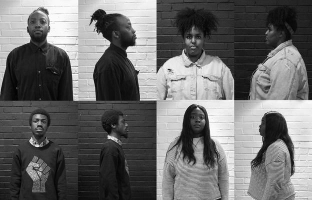 Montage of four young people pictured as if in mug shots.